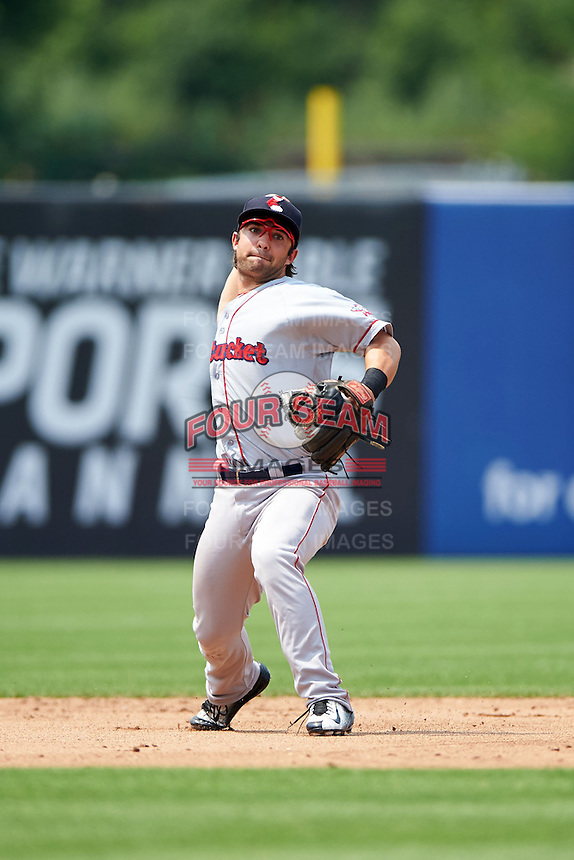 Pawtucket Red Sox shortstop Mike Miller (10) throws to first during a game against the Syracuse Chiefs on July 6, 2015 at NBT Bank Stadium in Syracuse, New York.  Syracuse defeated Pawtucket 3-2.  (Mike Janes/Four Seam Images)