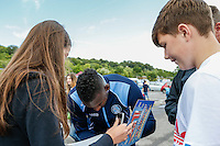 Fans collect autographs during the 2016/17 Kit Launch of Wycombe Wanderers to the public at Adams Park, High Wycombe, England on 10 July 2016. Photo by David Horn.