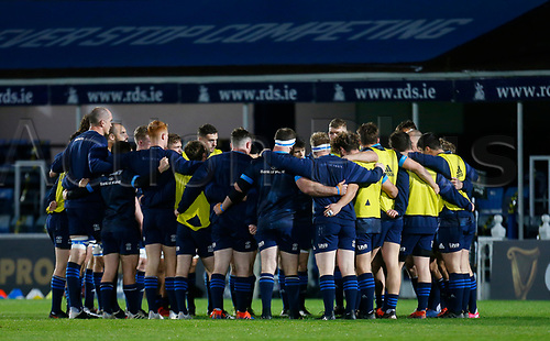16th November 2020; RDS Arena, Dublin, Leinster, Ireland; Guinness Pro 14 Rugby, Leinster versus Edinburgh; The team huddle during warmup prior to kickoff