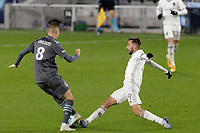 ST PAUL, MN - OCTOBER 28: Nicolas Benezet #9 of Colorado Rapids  and Jan Gregus #8 of Minnesota United FC battle for the ball during a game between Colorado Rapids and Minnesota United FC at Allianz Field on October 28, 2020 in St Paul, Minnesota.