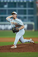 Texas Longhorns relief pitcher Dawson Merryman (42) in action against the LSU Tigers in game three of the 2020 Shriners Hospitals for Children College Classic at Minute Maid Park on February 28, 2020 in Houston, Texas. The Tigers defeated the Longhorns 4-3. (Brian Westerholt/Four Seam Images)