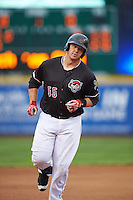 Erie SeaWolves designated hitter Dean Green (55) runs the bases after hitting a home run during a game against the Bowie Baysox on May 12, 2016 at Jerry Uht Park in Erie, Pennsylvania.  Bowie defeated Erie 6-5.  (Mike Janes/Four Seam Images)