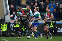 Ugo Monye of Harlequins celebrates scoring a try during his 200th appearance for the club with Danny Care of Harlequins during the Heineken Cup match between Harlequins and Connacht Rugby at The Twickenham Stoop on Saturday 12th January 2013 (Photo by Rob Munro).