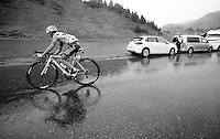 Alexis Vuillermoz (FRA/Ag2r-La Mondiale) over the top of the Col de Joux Plane (HC/1691m/11.6km/8.5%) and starting his descent towards the finish in horrendous conditions<br /> <br /> Stage 20: Megève › Morzine (146.5km)<br /> 103rd Tour de France 2016