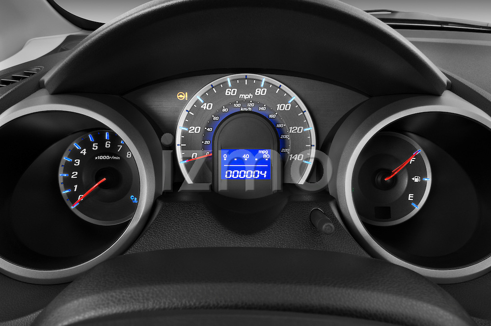 Instrument panel close up detail view of a 2009 Honda Fit Sport