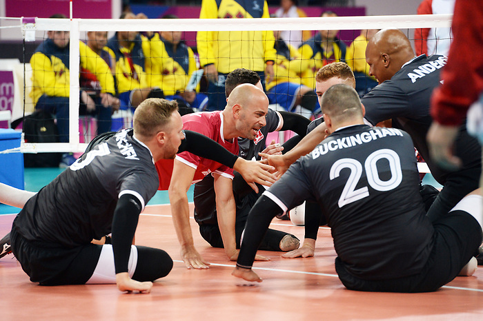 Mikael Bartholdy, Jesse Buckingham, Austin Hinchey, Jamoi Anderson, Lima 2019 - Sitting Volleyball // Volleyball assis.<br /> Canada competes in men's Sitting Volleyball // Canada participe au volleyball assis masculin. 24/08/2019.