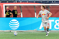 FOXBOROUGH, MA - AUGUST 29: Tim Parker #26 of New York Red Bulls looks to pass during a game between New York Red Bulls and New England Revolution at Gillette Stadium on August 29, 2020 in Foxborough, Massachusetts.
