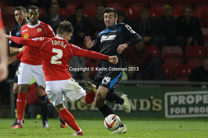 Michael Doughty of Stevenage (on loan from QPR) blocks a shot from Matt Tootle of Crewe<br />  - Crewe Alexandra v Stevenage - Sky Bet League One - Alexandra Stadium, Gresty Road, Crewe - 22nd October 2013. <br /> © Kevin Coleman 2013<br />  <br />  <br />  <br />  <br />  <br />  <br />  <br />  <br />  <br />  <br />  <br />  <br />  <br />  <br />  <br />  <br />  <br />  <br />  <br />  <br />  <br />  <br />  <br />  <br />  <br />  <br />  <br />  <br />  <br />  <br />  <br />  <br />  <br />  <br />  <br />  - Crewe Alexandra v Stevenage - Sky Bet League One - Alexandra Stadium, Gresty Road, Crewe - 22nd October 2013. <br /> © Kevin Coleman 2013