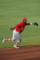 Palm Beach Cardinals shortstop Juan Herrera (12) during a game against the Lakeland Flying Tigers on April 13, 2015 at Joker Marchant Stadium in Lakeland, Florida.  Palm Beach defeated Lakeland 4-0.  (Mike Janes/Four Seam Images)