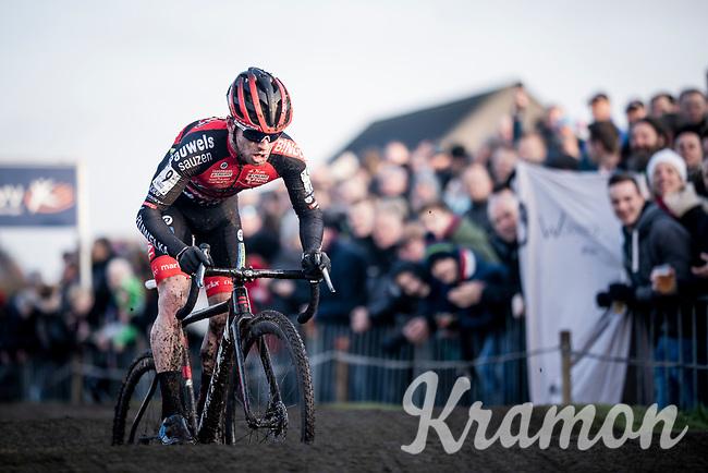 strong racing by Eli Iserbyt (BEL/Pauwels Sauzen-Bingoal) rolling over the pump track <br /> <br /> Azencross Loenhout 2019 (BEL)<br />  <br /> ©kramon