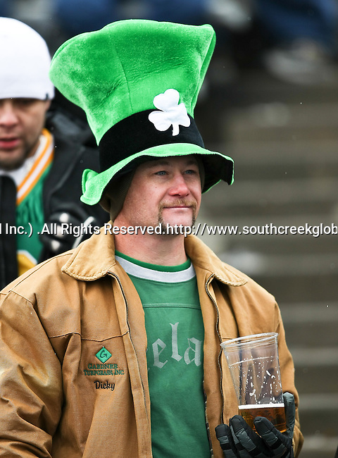 A Notre Dame Fighting Irish fan wears his lucky hat during the 2010 Hyundai Sun Bowl football game between the Notre Dame Fighting Irish and the Miami Hurricanes at the Sun Bowl Stadium in El Paso, Tx. Notre Dame defeats Miami 33 to 17...