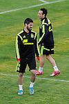 Spanish National Team's  training at Ciudad del Futbol stadium in Las Rozas, Madrid, Spain. In the pic: Isco and Santi Cazorla. March 25, 2015. (ALTERPHOTOS/Luis Fernandez)