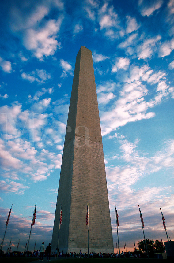 The exterior of the Washington Monument under a cloudy blue sky at dusk. Washington D.C.