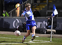 9th January 2021; Memorial Stadium, Bristol, England; English FA Cup Football, Bristol Rovers versus Sheffield United; Luke McCormick of Bristol Rovers tries to keep the ball in close to the final whistle
