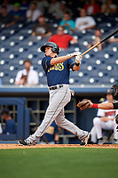New Orleans Baby Cakes first baseman Tyler Moore (28) follows through on a swing during a game against the Nashville Sounds on April 30, 2017 at First Tennessee Park in Nashville, Tennessee.  The game was postponed due to inclement weather in the fourth inning.  (Mike Janes/Four Seam Images)