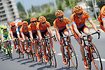 CCC Sprandi Polkowice team on the front of the peloton during Stage 6 of the 2015 Presidential Tour of Turkey running 184km from Denizli to Selcuk. 30th April 2015.<br /> Photo: Tour of Turkey/Mario Stiehl/www.newsfile.ie