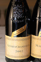 bottle with moulded relief on the neck 2002 gevrey-chambertin cote de nuits burgundy france