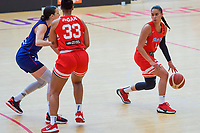 Tayra Melendez (1) of Puerto Rico pictured during a basketball game between the national teams of Puerto Rico and Serbia on Sunday 30 th of May 2021 in Kortrijk , Belgium . PHOTO SPORTPIX.BE   SPP   STIJN AUDOOREN