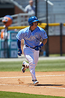 Chris Hudgins (27) of the Burlington Royals hustles down the first base line against the Greeneville Reds at Burlington Athletic Stadium on July 8, 2018 in Burlington, North Carolina. The Royals defeated the Reds 4-2.  (Brian Westerholt/Four Seam Images)