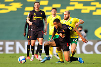 20th April 2021; Carrow Road, Norwich, Norfolk, England, English Football League Championship Football, Norwich versus Watford; Teemu Pukki of Norwich City competes for the ball with William Troost-Ekong of Watford