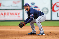 San Antonio Missions first baseman David Freitas (23) gets into defensive position during a Pacific Coast League game against the Iowa Cubs on May 2, 2019 at Principal Park in Des Moines, Iowa. Iowa defeated San Antonio 8-6. (Brad Krause/Four Seam Images)