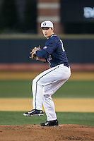 Georgetown Hoyas starting pitcher Matt Smith (27) in action against the Wake Forest Demon Deacons at David F. Couch Ballpark on February 19, 2016 in Winston-Salem, North Carolina.  The Demon Deacons defeated the Hoyas 3-1.  (Brian Westerholt/Four Seam Images)
