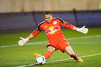 New York Red Bulls goalkeeper Luis Robles (31) makes a kick save during the second half against the New England Revolution. The New York Red Bulls defeated the New England Revolution 4-1 during a Major League Soccer (MLS) match at Red Bull Arena in Harrison, NJ, on March 20, 2013.