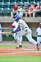 Bluefield Blue Jays shortstop Otto Lopez (9) swings at a pitch during a game against the Greeneville Reds at Pioneer Park on June 30, 2018 in Greeneville, Tennessee. The Blue Jays defeated the Red 7-3. (Tony Farlow/Four Seam Images)
