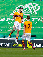 24th April 2021; Easter Road, Edinburgh, Scotland; Scottish Cup fourth round, Hibernian versus Motherwell; Tony Watt of Motherwell celebrates after scoring the equalising goal in the 88th min to make it 2-2