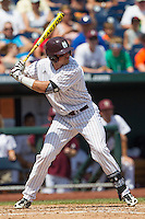 Mississippi State outfielder Hunter Renfroe (34) at bat during Game 11 of the 2013 Men's College World Series against the Oregon State Beavers on June 21, 2013 at TD Ameritrade Park in Omaha, Nebraska. The Bulldogs defeated the Beavers 4-1, to reach the CWS Final and eliminating Oregon State from the tournament. (Andrew Woolley/Four Seam Images)