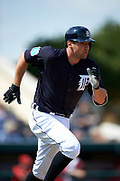 Detroit Tigers third baseman Nick Castellanos (9) runs to first base during an exhibition game against the Florida Southern Moccasins on February 29, 2016 at Joker Marchant Stadium in Lakeland, Florida.  Detroit defeated Florida Southern 7-2.  (Mike Janes/Four Seam Images)