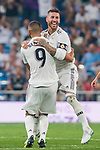 Karim Benzema of Real Madrid celebrates with teammate Sergio Ramos during the La Liga 2018-19 match between Real Madrid and CD Leganes at Estadio Santiago Bernabeu on September 01 2018 in Madrid, Spain. Photo by Diego Souto / Power Sport Images