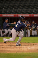 Milwaukee Brewers outfielder Troy Stokes Jr (3) during a Minor League Spring Training game against the Los Angeles Angels at Tempe Diablo Stadium on March 29, 2018 in Tempe, Arizona. (Zachary Lucy/Four Seam Images)