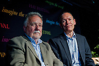 Tuesday 27 May 2014, Hay on Wye, UK<br /> Pictured: Dai Smith with John Griffiths<br /> Re: The Hay Festival, Hay on Wye, Powys, Wales UK.