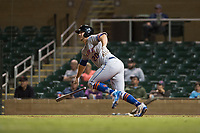Scottsdale Scorpions designated hitter Peter Alonso (20), of the New York Mets organization, starts down the first base line during an Arizona Fall League game against the Salt River Rafters at Salt River Fields at Talking Stick on October 11, 2018 in Scottsdale, Arizona. Salt River defeated Scottsdale 7-6. (Zachary Lucy/Four Seam Images)