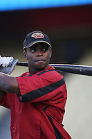 Justin Upton of the Arizona Diamondbacks during batting practice before a game from the 2007 season at Dodger Stadium in Los Angeles, California. (Larry Goren/Four Seam Images)
