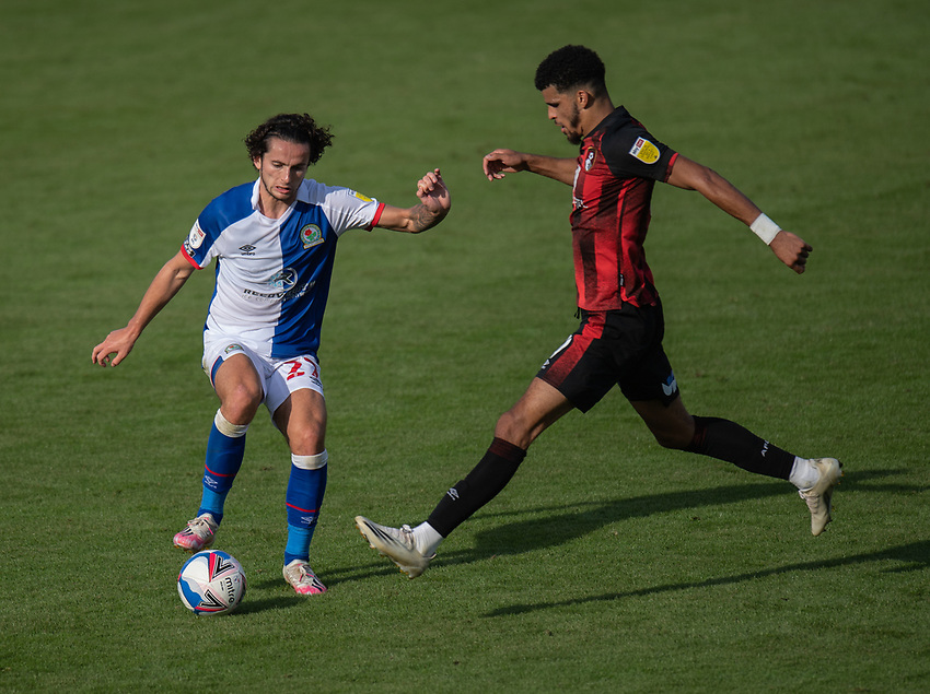 Blackburn Rovers' Lewis Travis (left) under pressure from Bournemouth's Dominic Solanke (right) <br /> <br /> Photographer David Horton/CameraSport <br /> <br /> The EFL Sky Bet Championship - Bournemouth v Blackburn Rovers - Saturday September 12th 2020 - Vitality Stadium - Bournemouth<br /> <br /> World Copyright © 2020 CameraSport. All rights reserved. 43 Linden Ave. Countesthorpe. Leicester. England. LE8 5PG - Tel: +44 (0) 116 277 4147 - admin@camerasport.com - www.camerasport.com