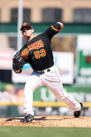 September 2 2008:  Pitcher Brian Duensing (53) of the Rochester Red Wings, Class-AAA affiliate of the Minnesota Twins, during a game at Frontier Field in Rochester, NY.  Photo by:  Mike Janes/Four Seam Images
