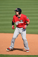 Frisco Rough Riders third baseman Ryan Rua (9) leads off during the first game of a doubleheader against the Tulsa Drillers on May 29, 2014 at ONEOK Field in Tulsa, Oklahoma.  Frisco defeated Tulsa 13-4.  (Mike Janes/Four Seam Images)