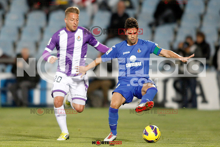 Getafe's Jaime Gavilan (r) and Real Valladolid's Patrick Ebert during La Liga match.November 18,2012. (ALTERPHOTOS/Acero) NortePhoto