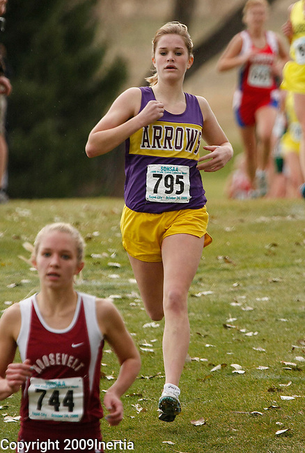 RAPID CITY, SD -- OCTOBER 24, 2009 -- Jordan Hanson of Watertown approaches the finish of the class AA girls event at the 2009 South Dakota State High School Cross Country Meet Saturday in Rapid City. (Photo by Dick Carlson/Inertia)