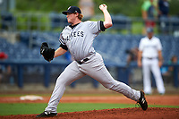 Tampa Yankees relief pitcher Caleb Frare (48) delivers a pitch during the first game of a doubleheader against the Charlotte Stone Crabs on July 18, 2017 at Charlotte Sports Park in Port Charlotte, Florida.  Charlotte defeated Tampa 7-0 in a game that was originally started on June 29th but called to inclement weather.  (Mike Janes/Four Seam Images)