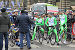 Bardiani Valvole-CSF Inox Team riders line up on the start line of the 104th edition of the Milan-San Remo cycle race at Castello Sforzesco in Milan, 17th March 2013 (Photo by Eoin Clarke 2013)
