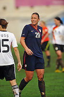 Abby Wambach. The USA captured the 2010 Algarve Cup title by defeating Germany 3-2, at Estadio Algarve on March 3, 2010.