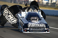 Aug. 1, 2014; Kent, WA, USA; NHRA funny car driver Tim Wilkerson during qualifying for the Northwest Nationals at Pacific Raceways. Mandatory Credit: Mark J. Rebilas-