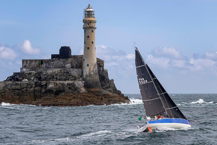 Rounding the Fastnet Rock: Cherbourg-based Alexis Loison and Jean Pierre Kelbert on JPK 10.30 Léon - back this year to defend their Two Handed title