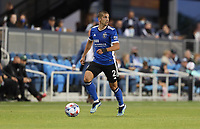 SAN JOSE, CA - MAY 15: Luciano Abecasis #2 of the San Jose Earthquakes chases down a ball during a game between Portland Timbers and San Jose Earthquakes at PayPal Park on May 15, 2021 in San Jose, California.