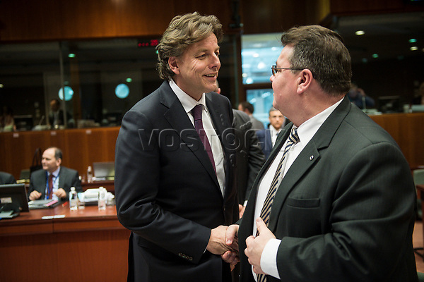 Dutch Foreign Minister Bert Koenders (L) and Lithuanian Foreign Minister Linas Antanas Linkevi?ius   prior to the European Union Foreign Ministers Council at EU headquarters  in Brussels, Belgium on 29.01.2015 Federica Mogherini , EU High representative for foreign policy called extraordinary meeting on the situation in Ukraine after the attack on Marioupol.  by Wiktor Dabkowski
