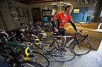 18 AUG 2011 - NORFOLK, GBR - Iain Dawson prepares his bike for the short ride to work. Although unable to distinguish details and read road signs the better light during the summer months means he is able to make out shapes along his route that he can recognise and use to know when to take a turn (PHOTO (C) NIGEL FARROW)