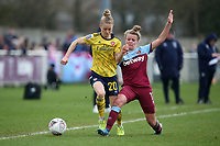 Leonie Maier of Arsenal and Esmee de Graaf of West Ham during West Ham United Women vs Arsenal Women, Women's FA Cup Football at Rush Green Stadium on 26th January 2020